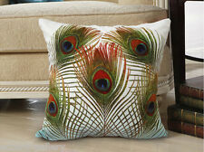 Elegant square velvet cushion cover peacock feather design on both sides
