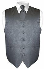 Men's Charcoal Gray Paisley Design Dress Vest and NeckTie Set for Suit or Tuxedo