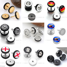 Punk Stainless Steel Fake Cheater Plug Stud Bar Barbell Stretcher Men's Earring