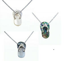 Genuine Mother of Pearl, Paua Abalone  Shell Flip Flop Necklace Fashion Jewelry