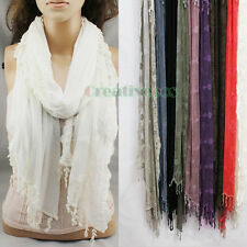 Fashion Women's Embroidery Lace Floral Crochet Stitching Scarf Shawl Lace Tassel