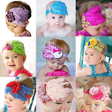 Cute Baby Kids Girl Infant Peacock Feather Headband Lace Flower Hair Band BE2U