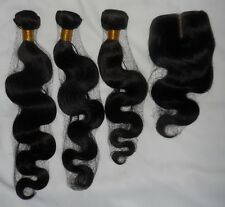 6A Brazilian Body Wave Human hair Virgin Lace Closure remy extensions 3x100g UK