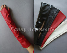 Faux Leather Arm Protector Opera Party Costume Cosplay Fingerless Long Gloves