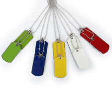 """PICK """"COLOR"""" Blank Double Army MILITARY ID DOG TAG Charm Pendant CHAIN Necklace"""