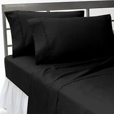 COMPLETE BEDDING ITEMS(FITTED,FLAT,PILLOW CASE)1000TC 100% EGYPTIAN COTTON-BLACK