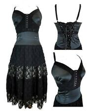 Joe Browns Black Lined Satin & Lace / Corset Bodice / Lace Up / Tiered Dress