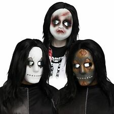 Scary Horror Mask w/ Hair Baby Doll Soul Stealer Costume Halloween Accessory NEW