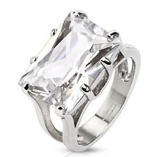 Stainless Steel Large 10 Carat Solitaire Rectangular Clear CZ Ring Size 5-9