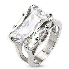 316L Stainless Steel Large 10 Carat Solitaire Rectangular Clear CZ Ring Size 5-9