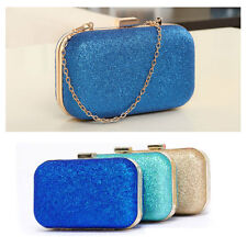 Fashion New Ladies Women Clutch Box Evening Party Glitter Chain Hand Bags Wallet
