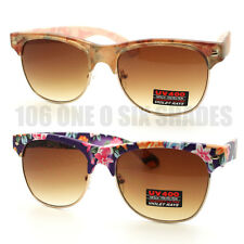 Womens Half Rim Floral Sunglasses Matte Frame Flower Printed New