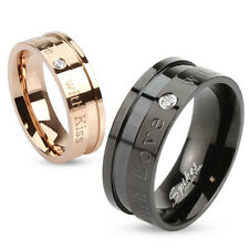 """Stainless Steel """"With Love with Kisses"""" Inscribed CZ Band Ring Size 5-13"""