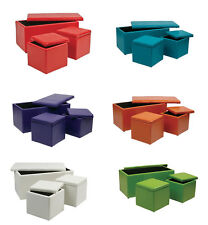 3 PIECE SET - BOLD Colors Vinyl 34.5W OTTOMAN Bench + 2 14W Storage Cubes MET73V