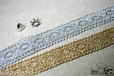 "1Yds Crochet metallic Vintage Style wedding Cotton lace 1.1"" GS016 laceking2013"