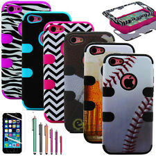 Hybrid Rugged Rubber Combo Matte Hard Case Cover for iPhone 5C w/ Screen Protect