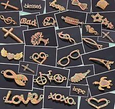 10pcs Charms Resin Rhinestone Love Hope Animal Cross Note Wing Heart Connectors