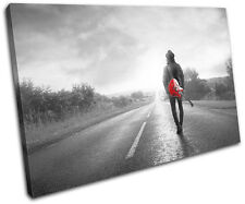 Musician Guitar Road Red Musical SINGLE CANVAS WALL ART Picture Print VA