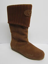 Ladies Rip Curl Brown Suede Zip Up Mid Calf Boots with Knitted Top TWLL05