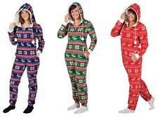 Ladies Mens Hooded All In One Christmas Festive Print Onesie Sleepsuit Pyjamas