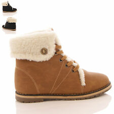 LADIES WOMENS HI TOP FUR CUFF LACE UP WINTER SNEAKERS TRAINERS BOOTS SHOES SIZE