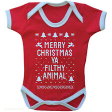 Red Babies MERRY CHRISTMAS YA FILTHY ANIMAL Vest Babygrow Baby Clothing gift NEW
