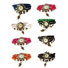 Wrist Watch Bohemian Style Retro Handmade Fashion w/ Leaf Charm - 7 Colors