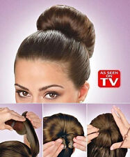Hot Buns As Seen On TV Wrap Hair Styling Donut Maker 2 Pack Dark Light S/L