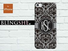 Personalised grey damask floral Monogram case for iPhone 4 4s 5 5s 5c mn217