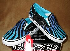NEW VANS CLASSIC SLIP-ON (ZEBRA FADE) SHOES BLACK/SCUBA BLUE TODDLER SZ  9, 9.5
