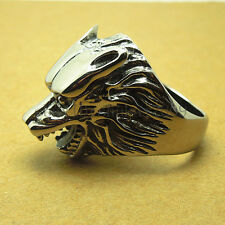 SA385 NEW ARRIVAL Men's Titanium Steel Stainless Steel Wolf Head Rings