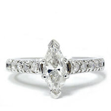 Real 1.20CT Marquise Diamond Engagement Ring White Gold 3 Stone (.90CT Center)