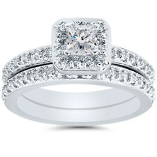 1.25CT Princess Cut REAL Diamond Engagement Pave Halo Wedding Ring Set White