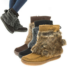 Women Faux Fur Winter Furry Pom Pom Tie Snow Mukluk Mid Calf Flat Boot US 5-10