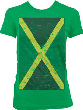 Giant Distressed Jamaican Flag World Cup Soccer Olympics Girls Juniors T-shirt