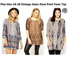 LADIES PLUS SIZE 18-28 TUNIC TOP BLOUSE TRIBAL AZTEC ROSE POLKA DOT SHIRT BOHO