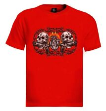 Skulls Heart  Loaded Guns T-Shirt Biker Barrel Choppers Live to Ride Motorcycle