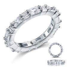 925 Sterling Silver Eternity Band Ring Emerald Cut Created Diamond FR8070