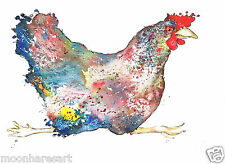 CHICKEN PRINTS A3 FRM ORIGINAL WATERCOLOURS BY MOON HARES ART PAINTINGS & PRINTS
