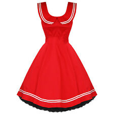 h & r LONDON RED Sailor Girl Nautical DRESS PINUP Swing 50's Vintage style 6893