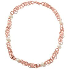 Technibond Genuine Pearl Necklace Chain 14K Rose Pink Gold Clad Silver FREE SHIP