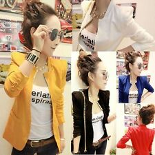 New Korean Women Metal Collar Slim Candy Shrug Blazer Suit Fashion Coat Tops S M