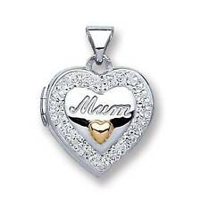 Sterling Silver Heart Shaped Mum Locket Set With Crystals & Gold Plated Heart