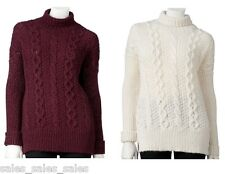 Womens Sweater Luxerious Jennifer Lopez Cable-Knit Turtleneck NWT $64