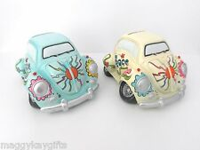 Handpainted Beetle Car Moneybox - Yellow - Blue  - Gift - Bedroom Accessory