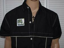 MacGear Button Down Shirt Black Glow In the Dark Piping NWT