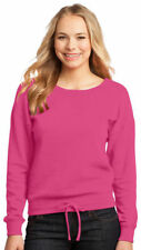 District Juniors Self Fabric Drawcord Waistband Fleece Wide Neck Pullover. DT293