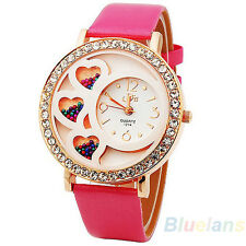 Women Cute Sweet Elegant Round Dial Crystals & Beads Decoration Wrist Watch B27U