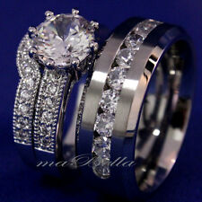 3pcs His & Her Women Sterling Silver Mens Stainless Engagement Wedding Rings Set