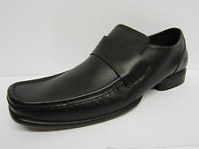 Mens Ikon Black Leather Slip On Formal Loafer Style Shoes STATEN